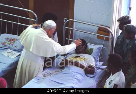 Pope John Paul II blessing the dying, St John's Hospice, Port Moresby