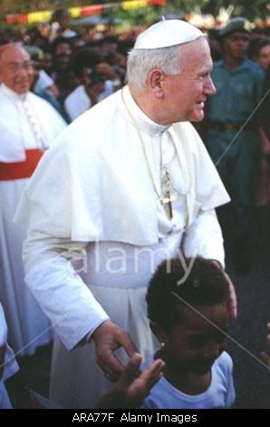 Pope John Paul II leaving St John's Hospice, Port Moresby
