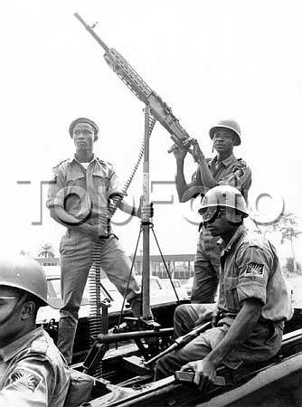 Biafran soldiers manning a jeep mounted heavy machine gun