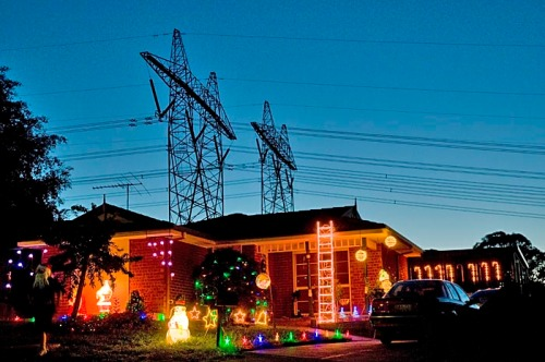 Christmas lights and power lines, Melbourne 2008