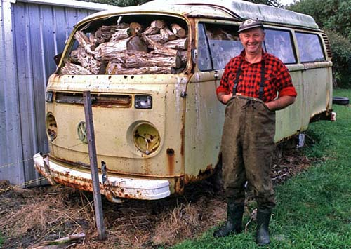 Graham Stingel, kelp harvester on King Island with his VW van