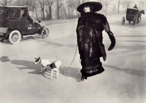 Woman with small dog walking in the Bois de Boulogne, Paris