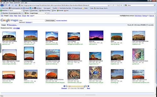 Google image search showing some of the over 400,000 photos of Uluru