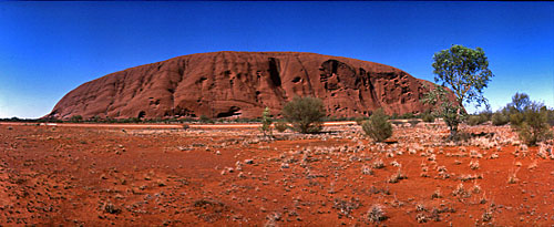 Uluru, © Rob Walls Photographed on Kodachrome with a Widelux camera
