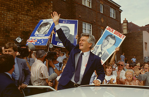 A triumphant Bob Hawke on the campaign trail in Sydney, 1983. I shot this on assignment for Newsweek. © Rob Walls