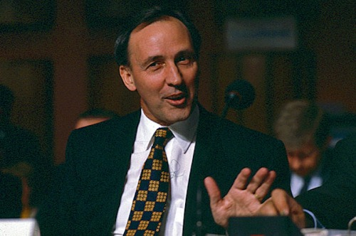Paul Keating wth that particular twinkle in his eye often displayed when taking delight in verbally skewering an opponent.