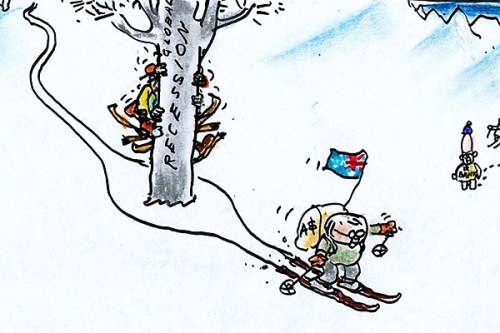 A recent cartoon from Bruce's pen illustrating Australia's escape from recession.
