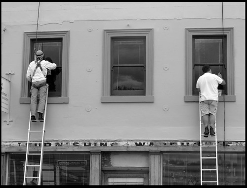 Painters at work, Melville Street, Hobart