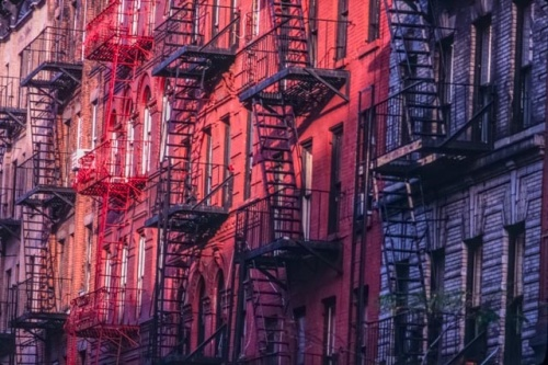 Fire escapes, Greenwich Village, New York, (c) Rob Walls